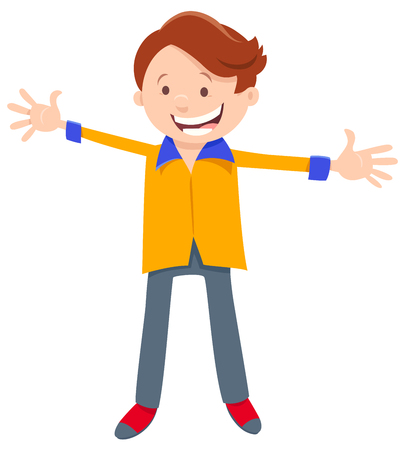 Cartoon Illustration of Happy Elementary or Teen Age Boy Character with Open Arms