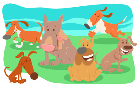 Cartoon Illustration of Dogs and Puppies Pet Animal Characters Group