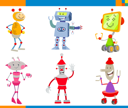 Cartoon Illustrations of Funny Robots Science Fiction or Fantasy Characters Set