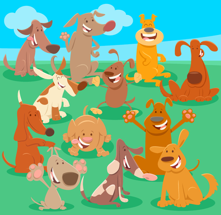 Cartoon Illustration of Many Happy Dogs and Puppies Pet Animal Characters Group Ilustrace