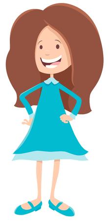 Cartoon Illustration of Cute Girl Kid or Teen Character