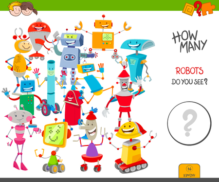 Cartoon Illustration of Educational Counting Activity Game for Children with Funny Robot Fantasy Characters Çizim