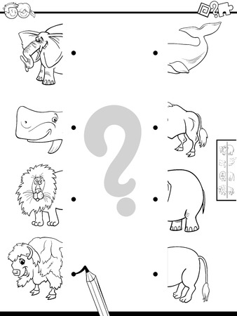 Black and White Cartoon Illustration of Educational Game of Matching Halves of Pictures with Wild Animal Characters Color Book Stockfoto - 123112217