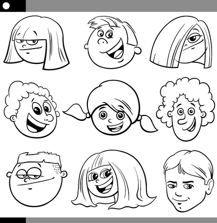 Black and White Cartoon Illustration of Funny Children or Teenagers Characters Faces Set