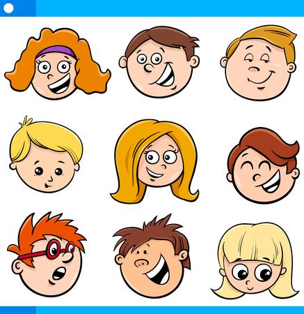 Cartoon Illustration of Happy Children or Teens Characters Faces Set Illusztráció