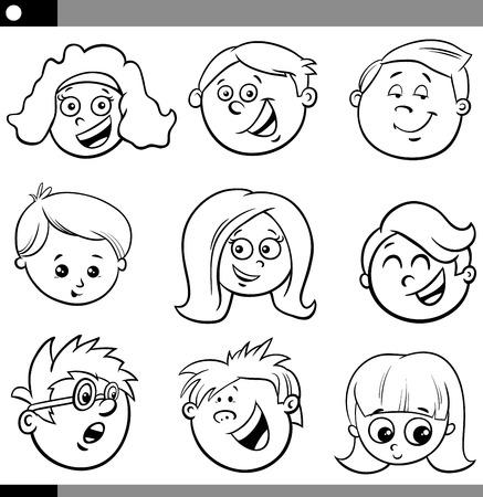 Black and White Cartoon Illustration of Happy Children or Teens Characters Faces Set Ilustração