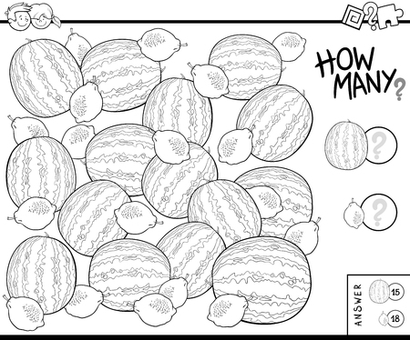 Black and White Illustration of Educational Counting Task for Children with Watermelons and Lemons Coloring Book Ilustração