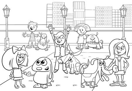 Black and White Cartoon Illustration of Children with Dogs Characters Group in the City Park Color Book