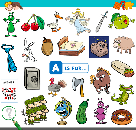 Cartoon Illustration of Finding Picture Starting with Letter A Educational Game Worksheet for Children Vettoriali