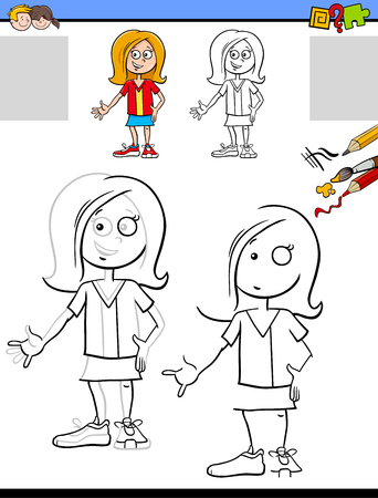 Cartoon Illustration of Drawing and Coloring Educational Activity for Children with Happy Girl Character