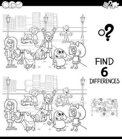 Schwarz-Weiß-Karikatur-Illustration des Findens von sechs Unterschieden zwischen Bildern Lernspiel für Kinder mit glücklichen Kindern mit ihren Hunden Zeichengruppe Malbuch Vektorgrafik