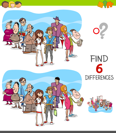 Cartoon Illustration of Finding Six Differences Between Pictures Educational Game for Children with People Group