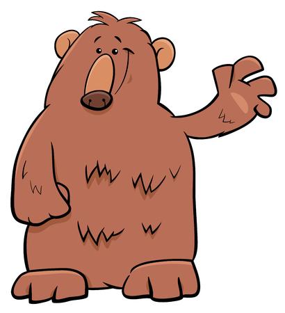 Cartoon Illustration of Funny Brown Bear Wild Animal Character