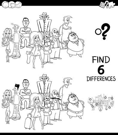 Ilustración caricatura en blanco y negro de encontrar seis diferencias entre imágenes Tarea educativa para niños con personajes de personas Libro para colorear en grupo