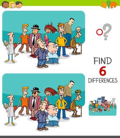 Cartoon-Illustration des Findens von sechs Unterschieden zwischen Bildern Lernspiel für Kinder mit Personen-Charakter-Gruppe
