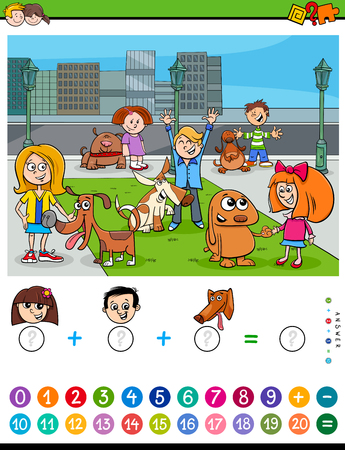 Cartoon Illustration of Educational Mathematical Counting and Addition Activity Task for Children with Kids and Dogs Characters