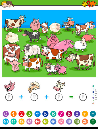 Cartoon Illustration of Educational Mathematical Counting and Addition Game for Children with Farm Animal Characters
