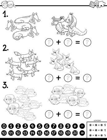 Black and White Cartoon Illustration of Educational Mathematical Subtraction Puzzle Task for Kids with Animal Characters Coloring Book Иллюстрация