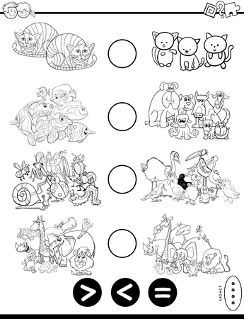 Black and White Cartoon Illustration of Educational Mathematical Puzzle Game of Greater Than, Less Than or Equal to for Children with Animal Characters Coloring Book Ilustração