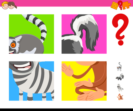 Cartoon Illustration of Educational Game of Guessing Animals Species for Kids Illustration