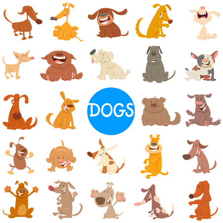 Cartoon Illustration of Happy Dogs and Puppies Pet Animal Characters Large Set 일러스트