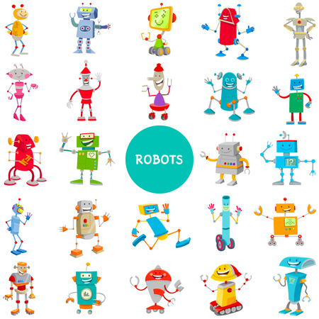 Cartoon Illustrations of Funny Robots Science Fiction or Fantasy Characters Large Set Ilustrace