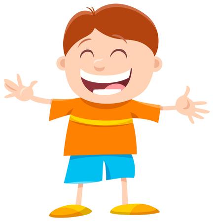 Cartoon Illustration of Happy Preschool or Elementary Age Boy Character