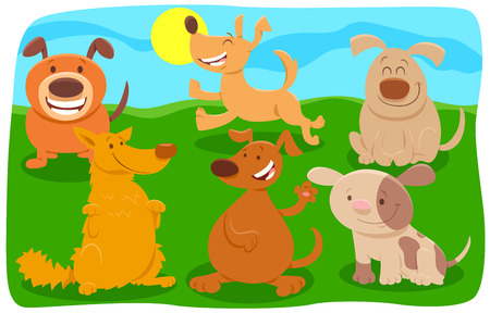 Cartoon Illustration of Happy Dogs and Puppies Pet Animal Characters Group Ilustrace