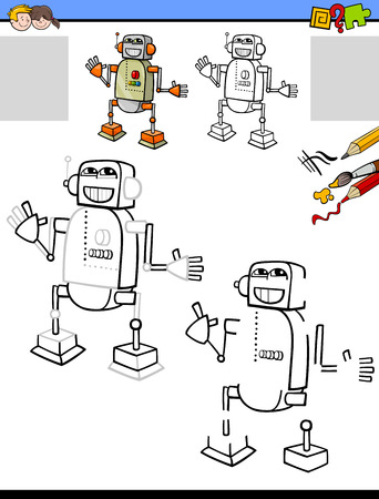 Cartoon Illustration of Drawing and Coloring Educational Activity for Children with Funny Robot Character 일러스트