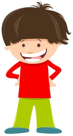 Cartoon Illustration of Happy Elementary Age Kid Boy Character Иллюстрация