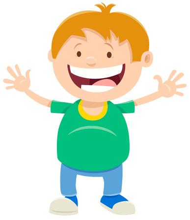 Cartoon Illustration of Funny Elementary Age Child Boy Character