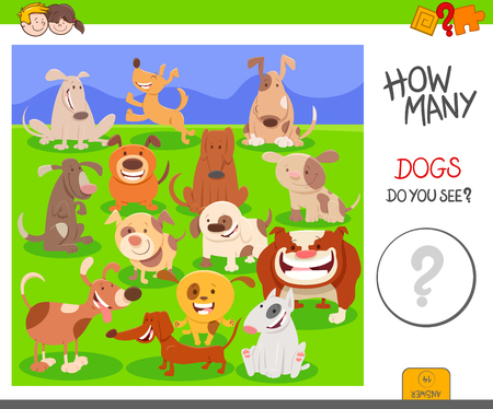 Cartoon Illustration of Educational Counting Activity Task for Children with Dogs Animal Characters