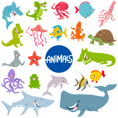 Cartoon Illustration of Marine Life Animal Characters Set 向量圖像