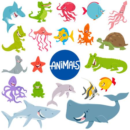 Cartoon Illustration of Marine Life Animal Characters Set Illustration