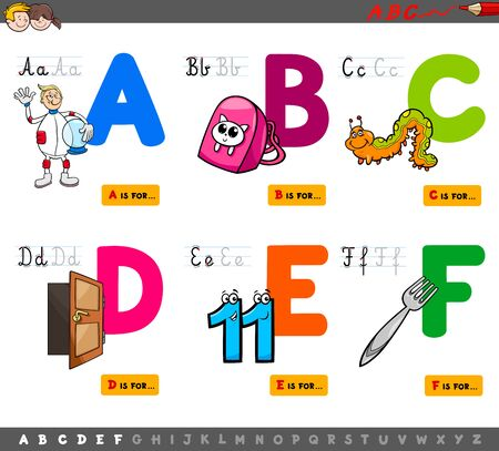 Cartoon Illustration of Capital Letters Alphabet Educational Set for Reading and Writing Practise for Kids from A to F