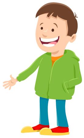Cartoon Illustration of Happy Elementary Age or Teen Boy Character in Green Sweatshirt Illusztráció