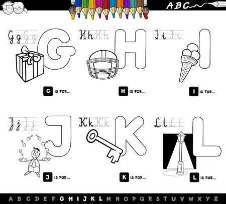 Black and White Cartoon Illustration of Capital Letters Alphabet Educational Set for Reading and Writing Learning for Kids from G to L Coloring Book