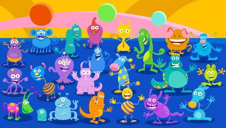 Cartoon Illustrations of Monsters or Aliens Comic Fantasy Characters Huge Group