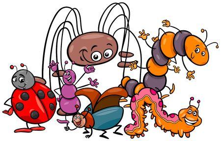 Ilustración de dibujos animados de divertidos insectos grupo de personajes de animales
