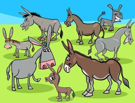 Cartoon Illustration of Funny Donkeys Farm Animal Characters Group
