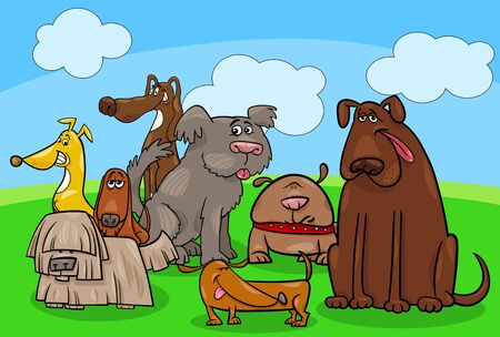 Cartoon Illustration of Comic Dogs Pet Animal Characters Group