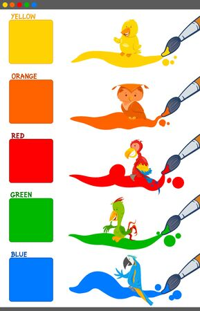 Cartoon Illustration of Basic Colors with Funny Birds Animal Characters Educational Set for Preschool Children