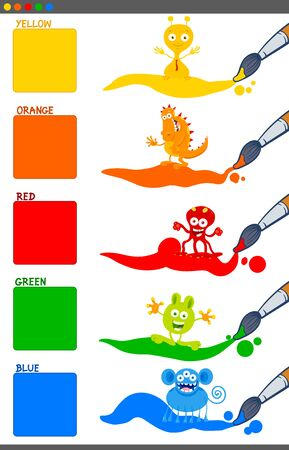 Cartoon Illustration of Basic Colors with Funny Fantasy Characters Educational Set for Preschool Children