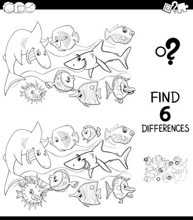 Black and White Cartoon Illustration of Finding Six Differences Between Pictures Educational Game for Children with Happy Fish in the Water Coloring Book