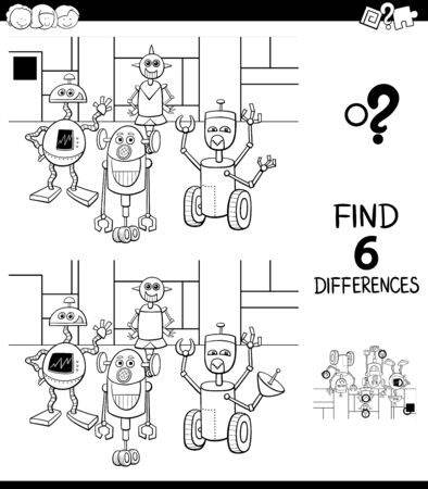 Black and White Cartoon Illustration of Finding Six Differences Between Pictures Educational Game for Children with Robots Fantasy Characters Coloring Book