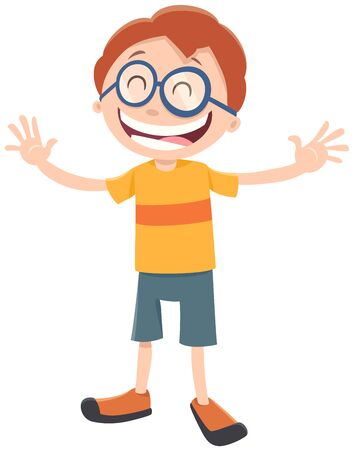 Cartoon Illustration of Happy Elementary Age or Teen Boy Character with Glasses