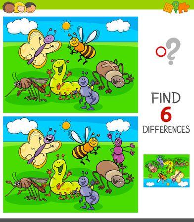 Ilustración de dibujos animados de encontrar seis diferencias entre imágenes Juego educativo para niños con personajes de animales insectos