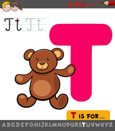 Educational Cartoon Illustration of Letter T from Alphabet with Teddy for Children