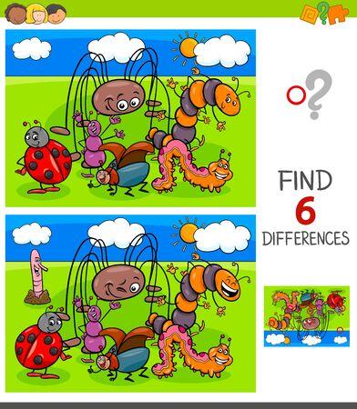 Cartoon-Illustration des Findens von sechs Unterschieden zwischen Bildern Lernspiel für Kinder mit lustigen Insektenfiguren