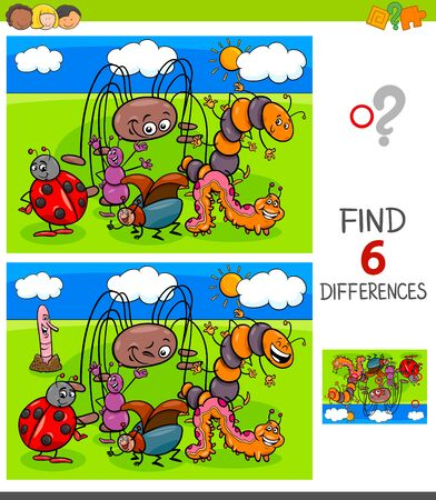 Cartoon Illustration of Finding Six Differences Between Pictures Educational Game for Children with Funny Insects Characters